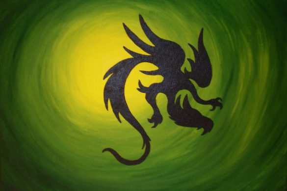 Acryl-Bild Drachen im Licht von Rachel Fischlin