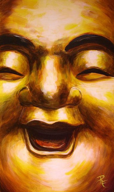 Acryl-Bild Happy Buddha von Rachel Fischlin