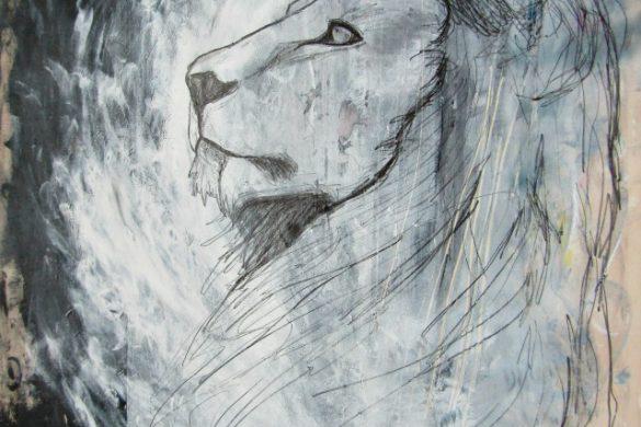 Acryl-Bild Löwe von Rachel Fischlin