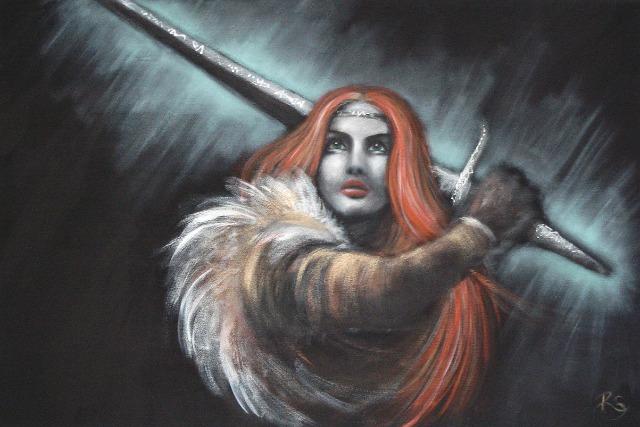 Acryl-Bild Warrioress von Rachel Fischlin
