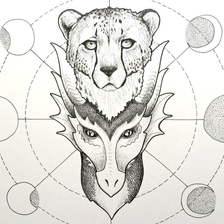 Gepard und Drache als Krafttier