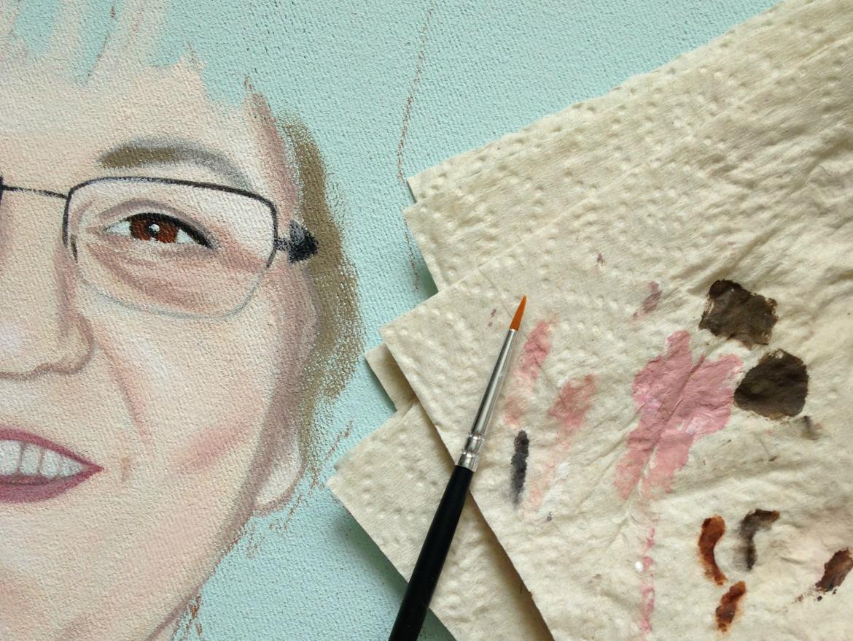 Acryl Portrait in Arbeit