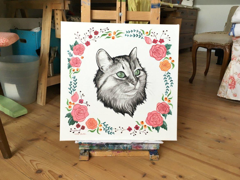 das fertige Katzen-Portrait in Acryl