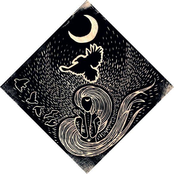 Holzschnitt Mond Magie von Rachel Fischlin