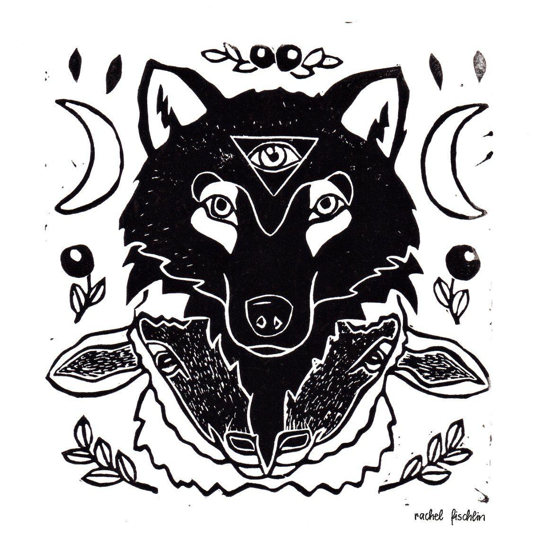 Linolprint Wolf im Schafspelz von Rachel Fischlin